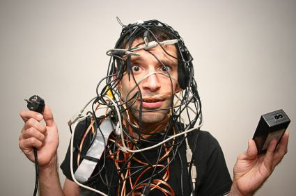 Young guy tangled in cables
